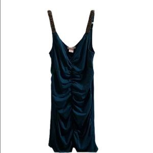 WET SEAL Turquoise Ruched Bodycon Dress!